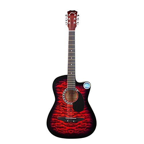 Blueseason 38'' Acoustic Guitar Beginner Starter Series Package with Bag, Strings, Picks,Red by Blueseason