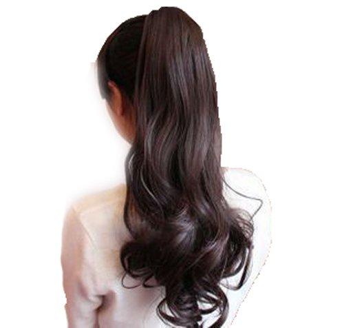 Toptheway Long Wavy Wrap Around Ponytail Wig Hair Extensions (Dark Brown) (Brown Ponytail Wig)