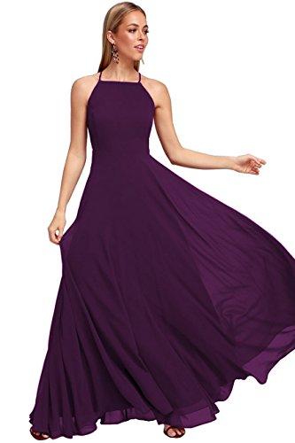 - YORFORMALS Women's Halter Chiffon Long Bridesmaid Dress Backless Formal Evening Party Gown Size 2 Plum