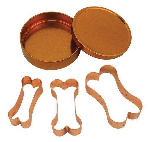Fox Run Brands 21000 Copper Dog Bone Cookie Cutter Set, One Size,