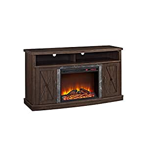 "Ameriwood Home Barrow Creek Electric Fireplace TV Stand for TVs up to 60"", Espre"