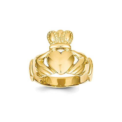 Size 10.5 - Solid 14k Yellow Gold Men's Claddagh Ring (10mm)