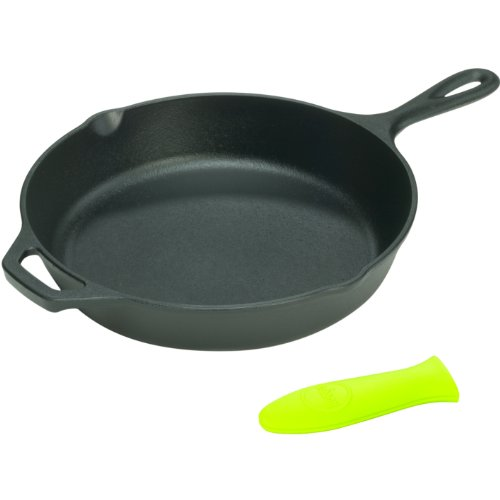 Lodge Logic 15.25 Inch Cast Iron Skillet with Helper Handle and Free Green Silicone Handle Holder