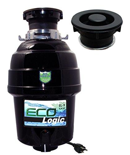 - Eco Logic EL-9-DS-BK 9 Deluxe Designer Series Food Waste Disposer with Black Sink Flange, 3/4 HP