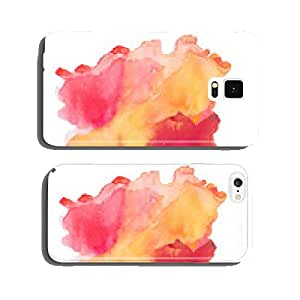 Abstract red orange watercolor, aquarelle art hand draw paint on cell phone cover case Samsung S5