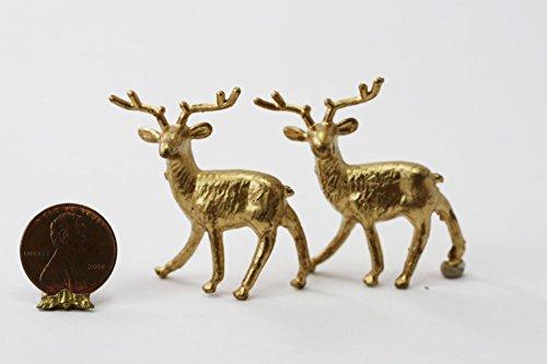Reindeer Miniature - Dollhouse Miniature Golden Shabby Look Standing Reindeer