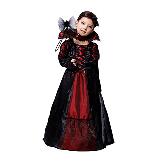 Vampire Costumes Party City (Amur Leopard Kids Halloween Party Costume Dress Black Queen L)