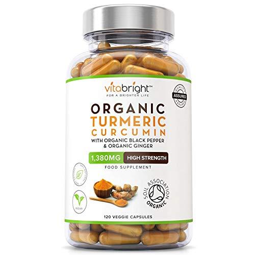 Organic Turmeric Curcumin 1380mg with Organic Black Pepper & Organic Ginger – 120 Vegan Capsules – High Strength…