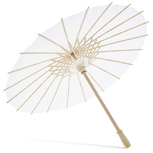 12-Pack White Paper Umbrella Parasols for DIY Crafts, Wedding Decor, and Centerpieces, 15.5 Inch Diameter