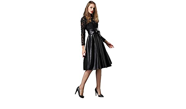 6e52af9264 Angel Lily embroidery lace faux leather swing dress plus1x-10x(SZ16-52) at  Amazon Women s Clothing store