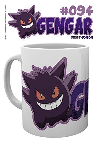 1art1 Set: Pokemon, Halloween Gengar Photo Coffee Mug (4x3 inches) and 1x Surprise Sticker -
