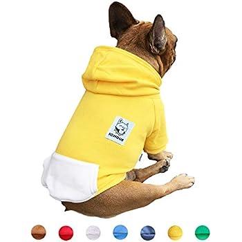 iChoue Pet Clothes Dog Hoodie Hooded Full-Zip Sweatshirt French Bulldog Frenchie Shiba Inu Cotton Winter Warm Coat Clothing - Yellow/Size M