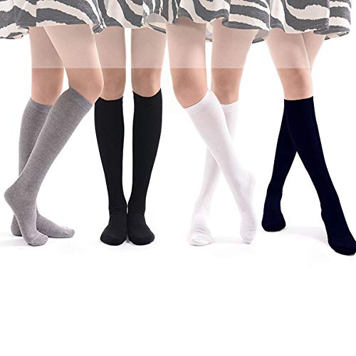 Boys & Girls School Uniform Socks, 4 Pairs Cotton Knit Knee High Uniform Socks for 10-18 Years Big Boys & Girls Daily Wear