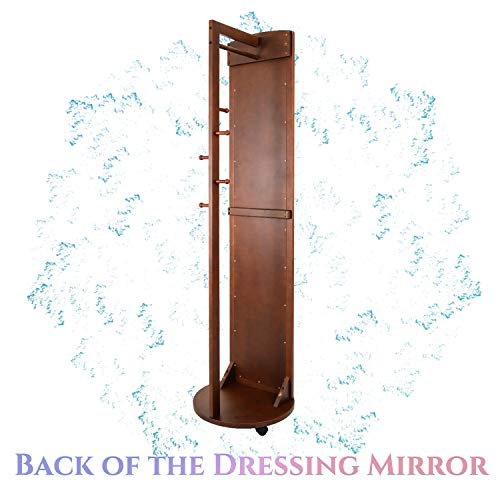 Tiny Times Multifunctional 360°Swivel Wooden Frame 69'' Tall Full Length Mirror Dressing Mirror Body Mirror Floor Mirror with Hanging Bar,Coat Stand,Coat Hooks-Brown
