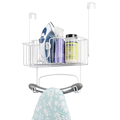 (mDesign Metal Wire Over Door Hanging Ironing Board Holder with Large Storage Basket - Organizer Holds Iron, Board, Spray Bottles, Starch, Fabric Refresher - for Laundry, Utility Room, Closet - White)