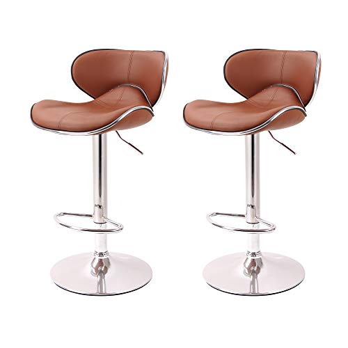 Cheap Circlelink Swivel Stitching Leather Adjustable Hydraulic Bar Stools Cushioned Saddleback, Set of 2 – Camel Coffee