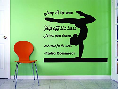 Gymnastics Wall Decals For Girls Bedroom | Gymnastics Vinyl Art for Girl Rooms | Gym Exercise Motivational Quotes for Female Sports / United States Olympics Athlete | NADIA COMANECI Quote Size20x20 in