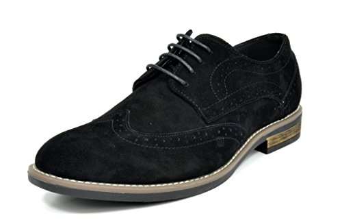 BRUNO MARC MODA ITALY URBAN-03 Men's Casual Wing Tip Brogue Genuine Suede Classic Lace Up Oxfords Shoes BLACK SIZE 15
