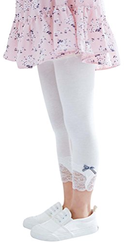EachWell Kid Girl Lace Capri Leggings Tights Modal Cotton Cropped Pants with Bowknot White(US 6-7T,Tag 130)