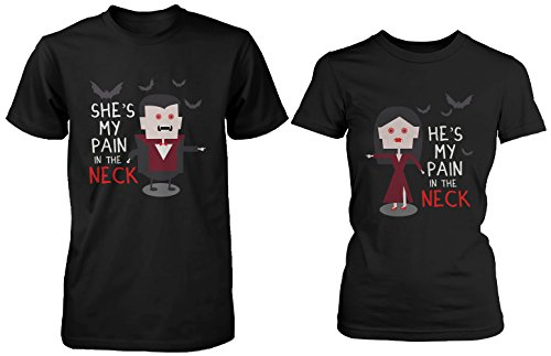 Cute Matching Vampire Couple Shirts for Halloween - My Pain in the Neck (His And Hers Halloween Shirts)