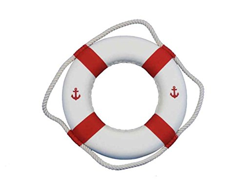 Hampton Nautical Classic White Decorative Anchor Life Ring with Bands Beach Home Decorating, 10