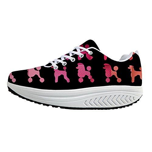 Bigcardesigns Sneaker Fashion Poodle Dog Mujeres Adelgazar Zapatos Para Caminar Poodle Negro-rosa