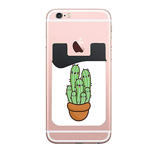 Smiling Cactus Clipart Customized 2 Pack Cell Phone Stick on Wallet Card Holder Phone Pocket for iPhone,Android and All Smartphones
