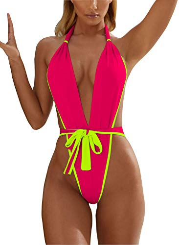 (ALLureLove Swimsuits Bathing Suits Womens Sexy Monokini Deep V One Piece Semi Thong Bikini Backless Cheeky Swimwear (Medium, Watermelon)