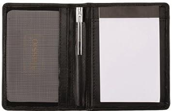 Netzfach f/ür Visitenkarten 7,5 cm x 11 cm Notizblock Alassio Notizblock-Etui Monza Notizbuch aus echt Leder schwarz Kugelschreiber