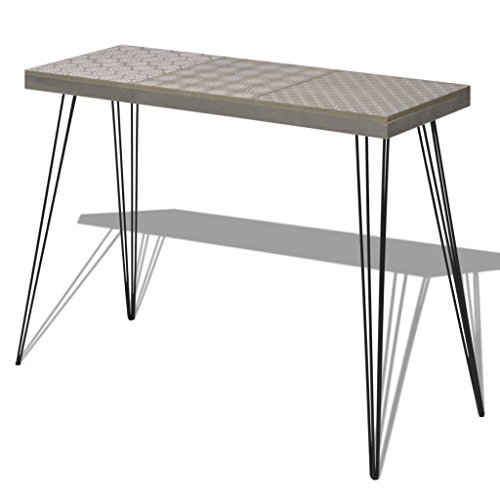Festnight Mid Century Console Table with Durable Metal Legs for Home Living Room Decor, 35.4