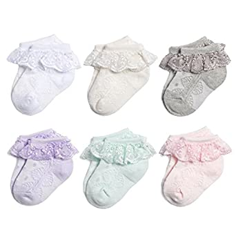b924ac5d9f2f7 NovForth Baby-Girls Eyelet Frilly Lace Socks(Pack of 6) (White ...
