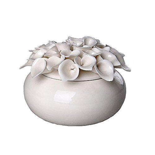 ALYCASO Handmade White Ceramic Retro Jewelry Box for Woman Wedding Gift Storage Decor Flower Calla