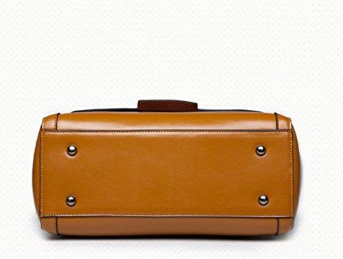 PU Europäische Griff Damen Tote Leder Fashion Stil Vintage Leder Kuriertasche Umhängetasche Paket Top Brown q8CUzEAxwC