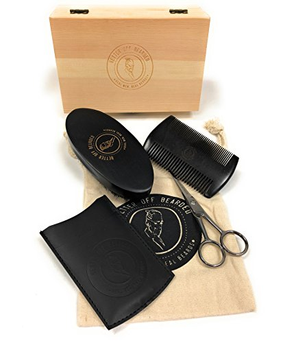 Beard Grooming Kit For Men; Premium Men's Set For That Special Man. Includes Premium Wooden Comb, Bearded Brush, Scissors, Storage/Travel Bag, and Wooden Gift Box For Real Men With Real Beards.