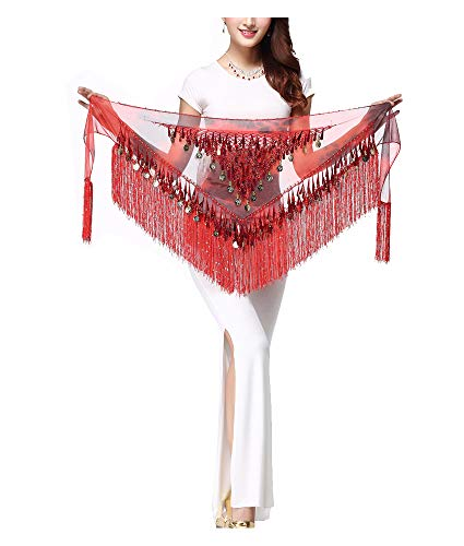 - WZT Belly Dancing Belt Colorful Waist Chain Belly Dance Hip Scarf Belt (Red)