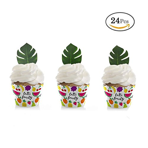 GEORLD 24pcs Edible Palm Leaves Cupcake toppers Party Cake Summer - Palms Online