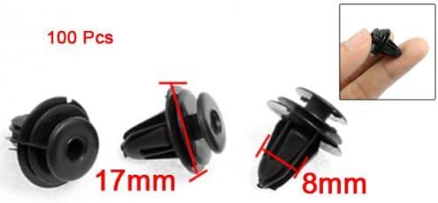 uxcell 100 Pcs Auto Car Bumper Front Clip Fastener Plastic Rivet Black
