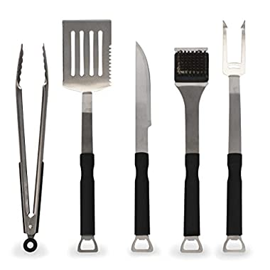 Flamen 5-Piece Stainless-Steel BBQ Grill Tool Set with Non-Slip Handles