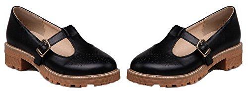 Amoonyfashion Femmes Bout Rond Lacets Pu Solide Talons Bas Pompes-chaussures Noir