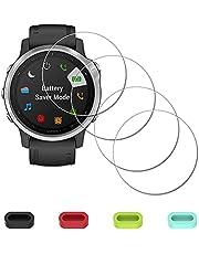 Displaybescherming beschermfolie voor Garmin Fenix 6S / 6S Pro / 6S saffier horloge + 4-delige bescherming voor oplaadaansluiting, iDaPro 9H hardheid, gehard glas, displaybeschermfolie, eenvoudige installatie, 4 stuks