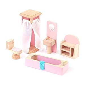 Wooden Dolls House Furniture Set Pink Bathroom Toys Games