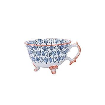 LOYWT cerámica pintado a mano de tres pies, la tarde taza de té, café, leche, desayuno Copa, alta taza de avena, Light Blue: Amazon.es: Hogar