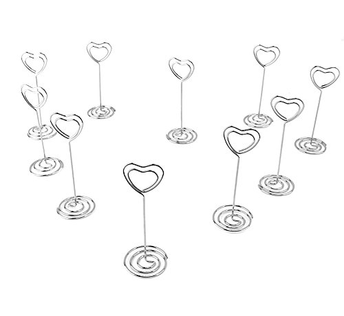 Looching 20pcs 3.5 Inch Heart-shaped Holder Wire Photo Clips Place Card Holder Special Spiral Base For Tabletop Use Mini Heart Place Card Holder