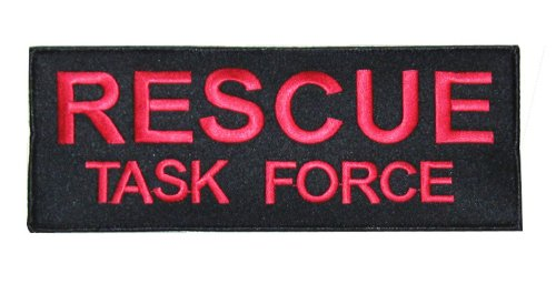 EMBROIDERED RESCUE TASK FORCE PATCH (RED ON BLACK, 8