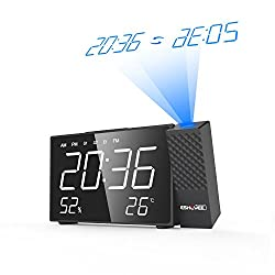ESHOWEE Projection Clock, FM Radio Alarm Clock,7''LED Display with Dimmer, Dual Alarm with USB Charging Port, 12/24 Hours,AC Powered Backup Battery for Clock Setting