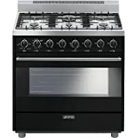 Smeg C36GGNU 36 Classic Series Gas Range with 4.4 cu. ft. Capacity 6 Sealed Burners 3 Cooking Modes Double Convection Electronic Automatic Ignition and Adjustable Legs in