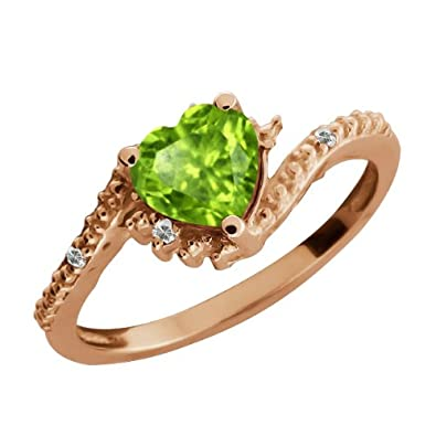 0.85 Ct Heart Shape Green Peridot and Topaz Gold Plated Silver Ring
