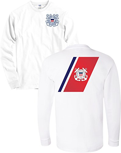 USCG US Coast Guard Racing Stripe Front & Back White Long Sleeve Shirt USA (White, Medium)