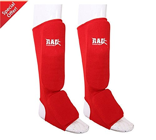 RAD MMA Shin Instep Foam Pad Support Boxing Leg Guards Foot Protective Gear Kickboxing Red (XL)