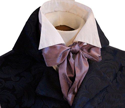 Elegantascot Men's Handmade Slim Regency Cravat Dupioni Silk Ascot Tie Plum